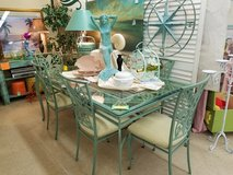 Heavy Iron Table & 8 Chairs in Tropical Leaf Design in Wilmington, North Carolina