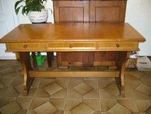 Old Solid Oak 3 Drawer Desk in Ramstein, Germany