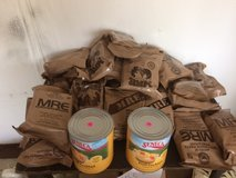 MRE'S, fruit and Military gear in Fort Riley, Kansas