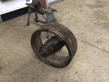 Grinding wheel and a belt drive wheel for sawmeal in Perry, Georgia