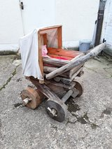 Amazing handmade life size wooden baby carriage in Ramstein, Germany