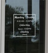 Modern Clean Hours Window Decal ~ Custom Size Color ~ Business Shop Opening Store Hours ~ Custom... in Yucca Valley, California