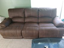 Brown Pebbled Leather Reclining Couch Set in Camp Lejeune, North Carolina