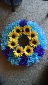 Beautiful light blue and purple peace wreath... Handmade. in Travis AFB, California