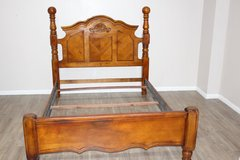Excellent condition QUEEN wood bed with headboard, foot-board included in Spring, Texas