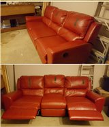 Double recliner vinyl couch in Conroe, Texas