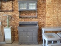 China buffet cabinet (2) pieces gray and white w/ porcelain pulls in Morris, Illinois