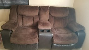 Ashley Espresso Brown Suede Entertainment Style couch in Hemet, California