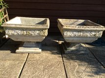 Pair of concrete planters in Lakenheath, UK