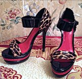 "Shi by Journey"" Black Patent Leather & Leopard Print High Heel Shoes in Fort Bragg, North Carolina"