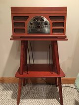 Crosley CR66 Rochester 5 in 1 Entertainment Center with Manchester Record Stand in Lockport, Illinois