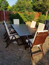 Land of Leather Garden Dining Table and Chairs in Lakenheath, UK