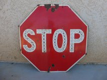 Vintage Red Porcelain Stop Sign in Yucca Valley, California
