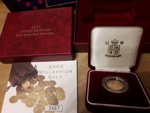 Gold sovereign coin in Lakenheath, UK