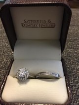 Stunning Round Diamond Halo Solitaire Engagement Ring and Band in Warner Robins, Georgia