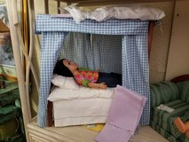 American Girl Size Canopy Bed with Bedding in Wilmington, North Carolina