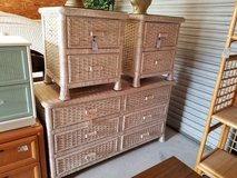 Wicker Glass Topped Nightstand #1594-2955 in Wilmington, North Carolina