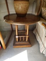 Oak Gallery Based End Table with Brass Accents #618-1765 in Wilmington, North Carolina