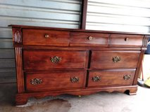 Solid wood dresser with mirror in great condition in Fort Bliss, Texas