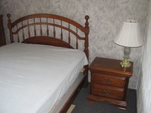 Bedroom Set (Queen-size bed with new mattress, Nightstand, and Dresser with Mirror) in Ramstein, Germany