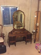 Antique dressing table and mirror in Oswego, Illinois