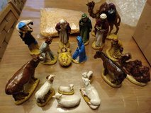 17 Piece Ceramic Nativity Scene Nativity Figurines Hand-painted in Yucca Valley, California
