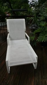 OUTDOOR WHITE FINISHED ALUMINUM FRAMED CHAISE LOUNGE With Mesh Body in Chicago, Illinois
