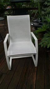 OUTDOOR WHITE FINISHED ALUMINUM ARM CHAIR with Mesh Body in Chicago, Illinois