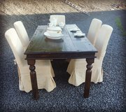 rustic dining room table with 6 chairs in Spangdahlem, Germany