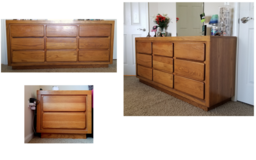 Wooden simple dresser and bedside box set in Glendale Heights, Illinois