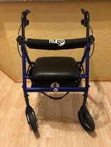 Hugo Portable Rollator Walker with Seat, Backrest and 8 Inch Wheels, Blue in Joliet, Illinois