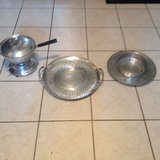 Metal tray, chafing dish, plate w/ bowl... Hammered finish in Glendale Heights, Illinois