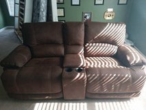 Brown Pebbled Leather Reclining Loveseat in Camp Lejeune, North Carolina