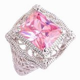 TODAY**Solitaire 925 Sterling Silver Gorgeous*13mm Emerald Cut Pink Ring***BRAND NEW in The Woodlands, Texas