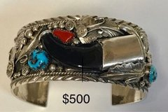 REAL BEAR NAVAJO SIGNED STERLING SILVER CLAW CUFF BRACELET in 29 Palms, California