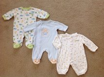 Lot of 3 Baby Cotton Sleepers, Pajamas, Carter's and Little Me Brands, size 3 months in Schaumburg, Illinois