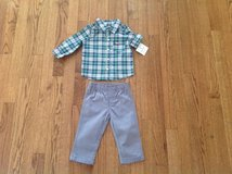 New Carter's Baby Boy 2-Piece Striped Button Shirt & Grey Pants Set, Outfit, size 9 months in Schaumburg, Illinois