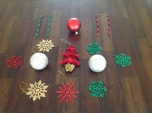 Lot of 15 Shatterproof Hanging Christmas Ornaments in Schaumburg, Illinois