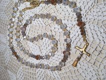 Rosary Gold and Czech Crystal Beads Bride Wedding Gold Crucifix and Middle Medal Custom Necklace... in Kingwood, Texas