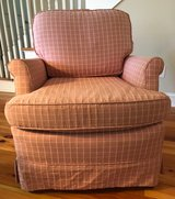 Red Check Upholstered Chair in Beaufort, South Carolina