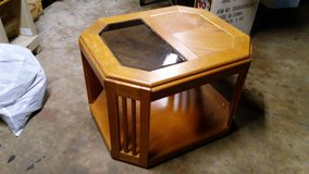 Solid wood table with glass insert in Lockport, Illinois