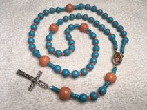 Rosary Turquoise Coral Our Lady of Guadalupe Color Medal Favorite in Kingwood, Texas