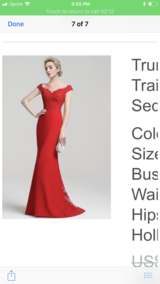 Off shoulders red dress in Clarksville, Tennessee