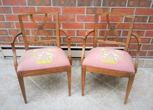 2 Vintage 1950s Drexel Upholstered Wood Armchairs in Plainfield, Illinois