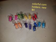 Colorful corn holders in Vacaville, California