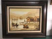 P. Wong Asian Junk Boats Oil Painting in Bartlett, Illinois