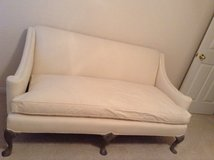 Antique sofa :white with grey legs in Conroe, Texas