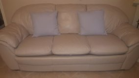 Nearly New Cream Leather Couch (OBO)! in Pearland, Texas
