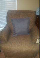 Red Pattern Fabric Chair in Pearland, Texas