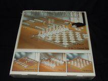 3 in 1 Glass Game Set, Chess Checkers Backgammon New in Box in Naperville, Illinois
